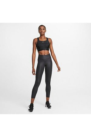 Nike Women Leggings - Women's One Faux-Leather Mid-Rise Cropped Leggings in Black/Black Size X-Small Leather/Polyester/Spandex
