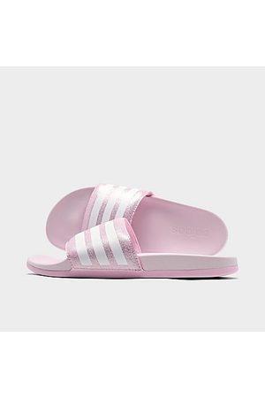 adidas Girls' Big Kids' Adilette Shower Slide Sandals in Pink/Clear Pink Size 4.0