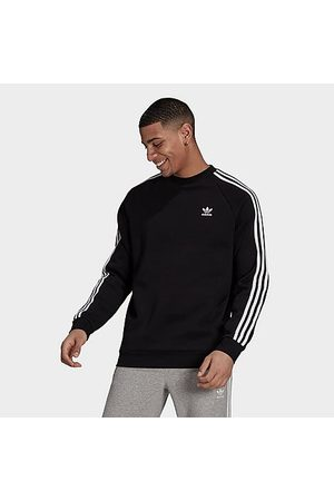 adidas Men's Originals Adicolor Classics 3-Stripes Crewneck Sweatshirt in Black/Black Size Small Cotton/Polyester/Fleece