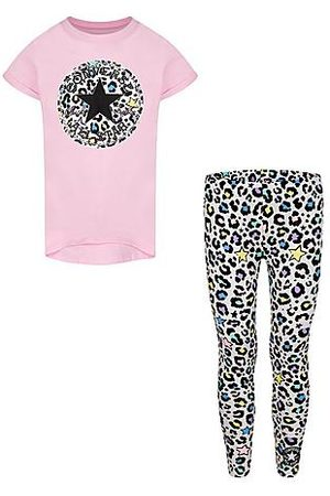 Converse Girls' Little Kids' Leopard T-Shirt and Legging Set in Purple/Light Pink