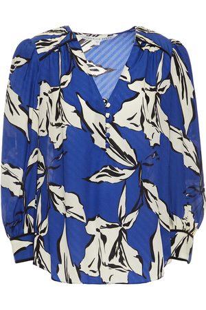 VERONICA BEARD Woman Milan Floral-print Silk-blend Jacquard Blouse Blue Size 0