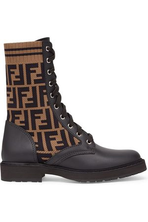 Fendi Black leather biker boots