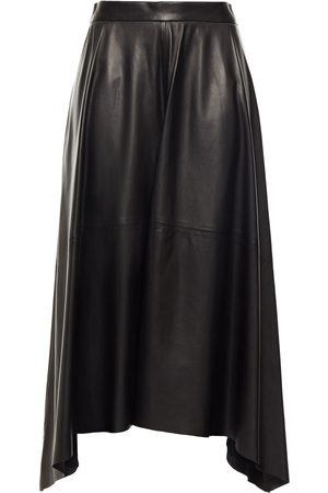 Brunello Cucinelli Woman Asymmetric Leather Midi Skirt Black Size 40