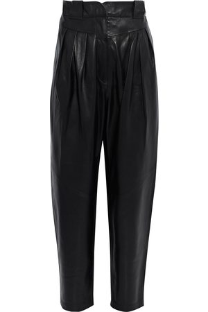 IRO Woman Finio Pleated Leather Tapered Pants Black Size 34