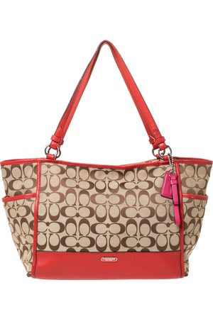 Coach Women Purses - Beige/Orange Signature Canvas and Leather Carrie Tote