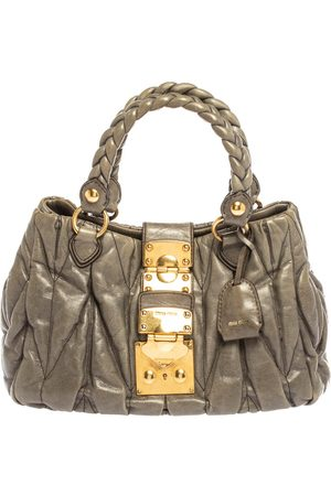 Miu Miu Grey Matelasse Leather Coffer Two Way Satchel
