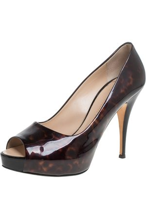Giuseppe Zanotti Brown Tortoise Shell Patent Leather Peep Toe Platform Pumps Size 38