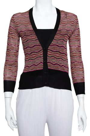 M Missoni Multicolor Knit Plunge Neck Button Front Cropped Cardigan M