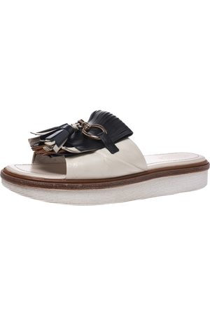Tod's Multicolor Leather Fringe Detail Platform Slide Sandals Size 40