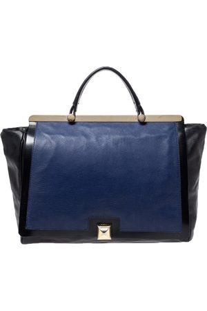 Furla Black/Blue Leather Cortina Top Handle Bag