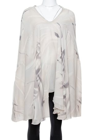 Armani Pale Grey Printed Silk Kaftan Blouse S