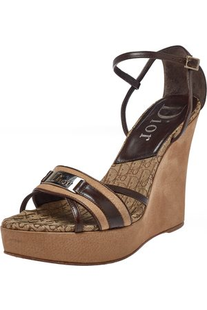 Dior Brown/Beige Leather and Nubuck issimo Wedge Platform Sandals Size 38.5