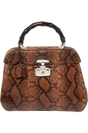 Gucci Brown/Black Python Lady Lock Bamboo Large Top Handle Bag