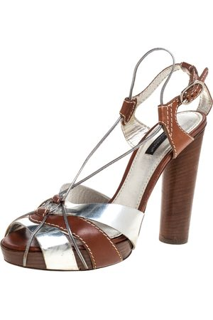 Dolce & Gabbana Silver/Brown Leather Platform Ankle Strap Sandals Size 38