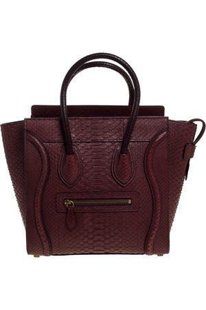 Céline Burgundy Python Micro Luggage Tote