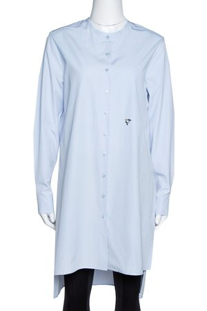 Dior Light Blue Cotton Bee Embellished Button Down Tunic S