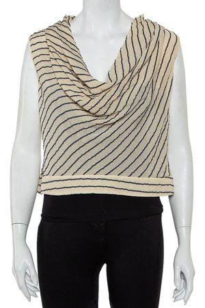 Armani Bicolor Striped Silk Sleeveless Cowl Neck Top M