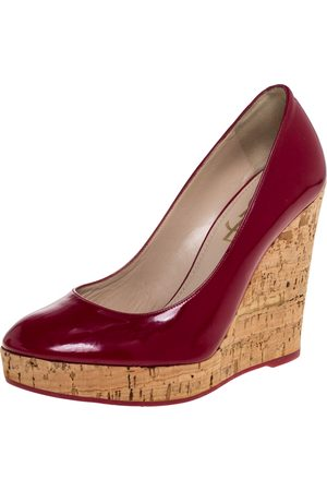 Saint Laurent Red Patent Leather Wedge Pumps Size 37