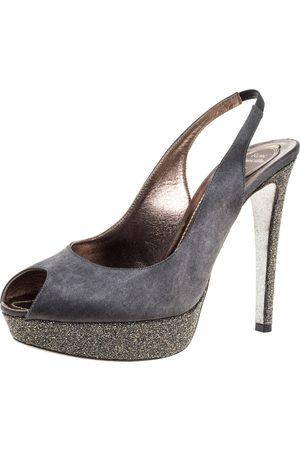 RENÉ CAOVILLA Rene Caovilla Grey Satin Peep Toe Slingback Platform Sandals Size 40.5
