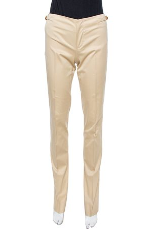 Gucci Beige Cotton Straight Fit Trousers S