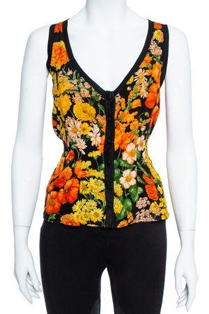 Dolce & Gabbana Black Floral Print Silk & Cotton Sleeveless Top M