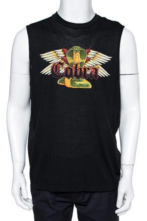 Dsquared2 Black Cotton Cobra Print Long Cool Fit Tank T-Shirt XL
