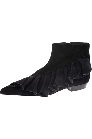 J.W.Anderson Black Suede Leather Frill Detail Ankle Boots Size 41
