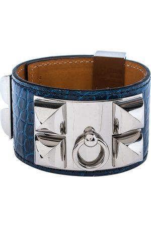 Hermès Hermès Blue Alligator Leather Collier de Chien Cuff Bracelet S