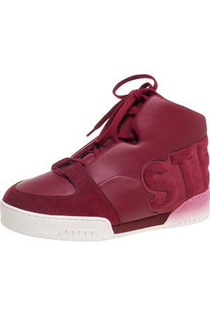 Stella McCartney Red Faux Suede Leather High Top Sneakers Size 37