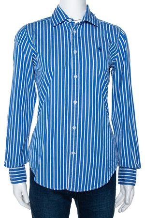 Ralph Lauren Blue & White Striped Cotton Long Sleeve Shirt M