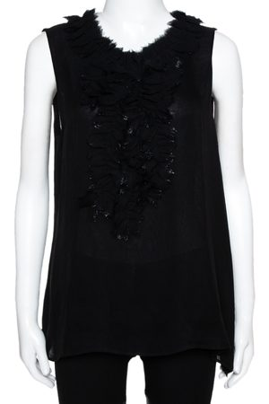 Oscar de la Renta Black Silk Sleeveless Ruffled Blouse L