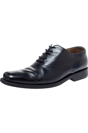 LOUIS VUITTON Black Leather Wing Tips Lace Up Oxford Size 43