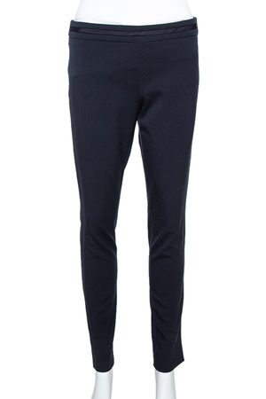 Emporio Armani Navy Blue Stretch Wool Tailored Pants S