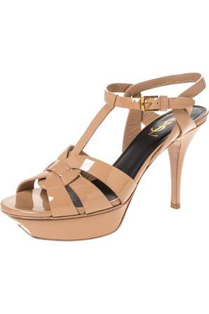 Saint Laurent Beige Patent Leather Tribute Platform Sandals Size 38.5