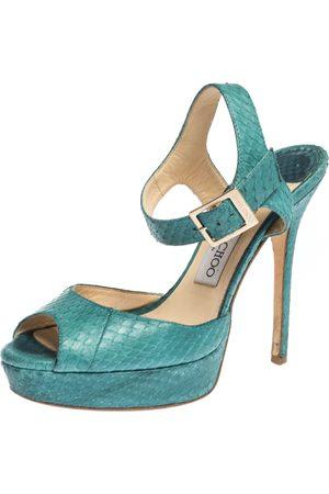Jimmy Choo Emerald Green Python Leather Platform Ankle Strap Sandals 37