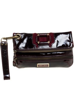 Jimmy Choo Burgundy Patent Leather and Suede Mave Foldover Clutch