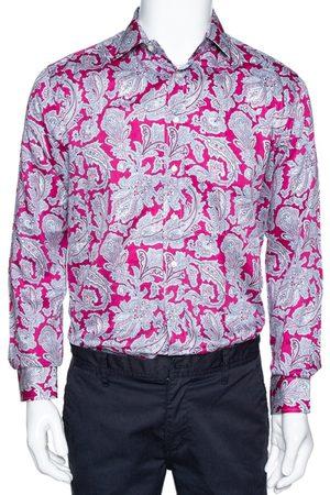Etro Dark Pink Paisley Print Cotton Long Sleeve Shirt L