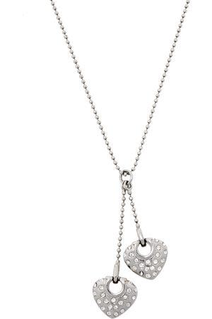 Salvatore Ferragamo Double Crystal Heart Gancini Pendant Necklace