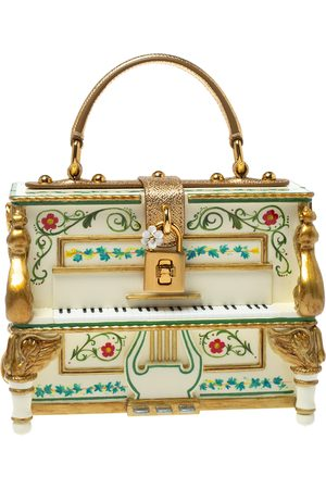 Dolce & Gabbana Multicolor Printed Acrylic and Leather Piano Box Top Handle Bag