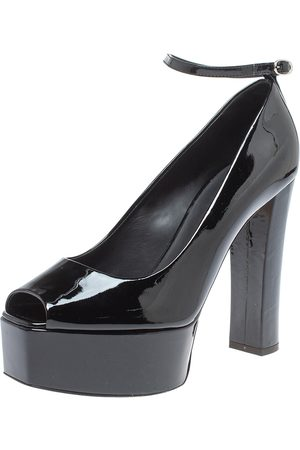 Giuseppe Zanotti Black Patent Leather Platform Peep Toe Ankle Cuff Pumps Size 40