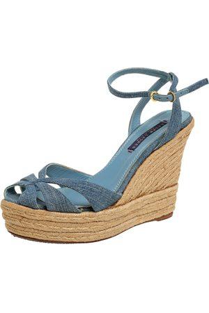 Ralph Lauren Ralph Lauren Blue Denim Platform Ankle Strap Espadrille Wedge Sandals Size 37.5