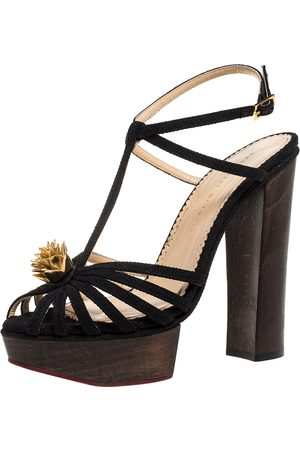 Charlotte Olympia Black Canvas Strappy Ankle Strap Platform Sandals Size 39