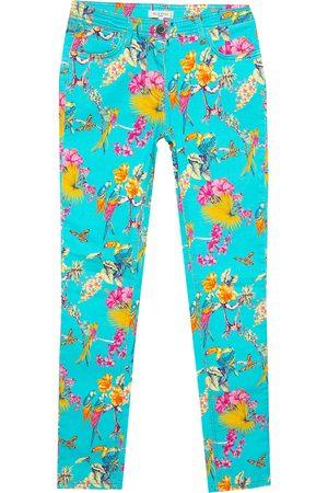 Etro Cyan Blue Flora & Fauna Print Skinny Jeans S