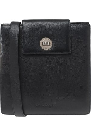 Bvlgari Black Leather Accordion Shoulder Bag