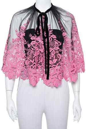 Dolce & Gabbana Black & Pink Guipure Lace Sheer Cape S