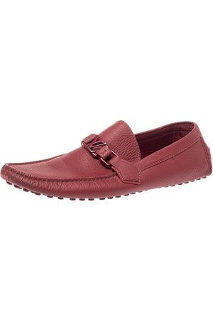 LOUIS VUITTON Red Leather Hockenheim Slip On Loafers Size 43