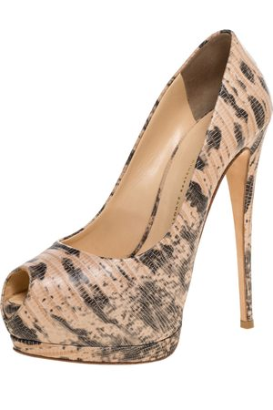 Giuseppe Zanotti Beige Lizard Embossed Leather Monro Peep Toe Platform Pumps Size 39