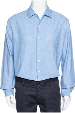 Loro Piana Blue Textured Cotton Long Sleeve Shirt XXL