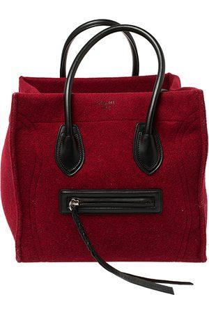 Céline Red/Black Wool and Leather Medium Phantom Luggage Tote