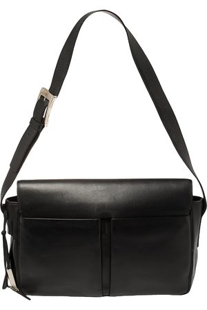 Bally Black Leather Double Pocket Flap Shoulder Bag